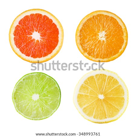 Fresh Citrus Fruits. Lemon, Lime, Orange, Grapefruit Slice On White Background