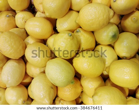 Fresh citrus fruits, oranges and lemons in shop. healthy food background - stock photo