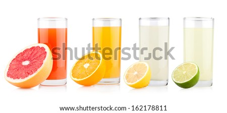 fresh citrus juices with fruits