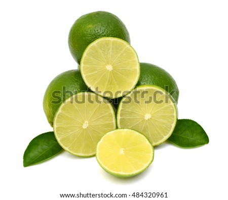 fresh Citrus lime fruits with slices isolated on white background