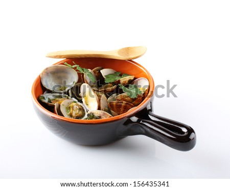 Fresh clams in the pot on white background