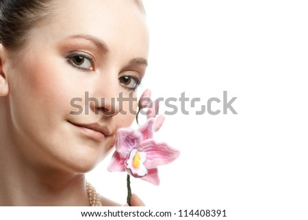 Fresh clear healthy skin on the face of beautiful woman - stock photo