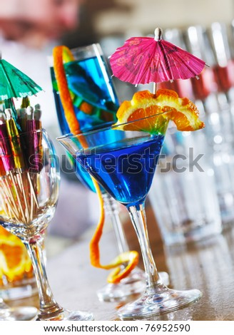 fresh cocktail alcohol drink in night bar - stock photo