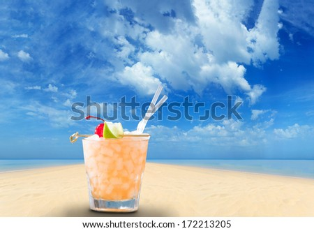 Fresh cocktail on the beach - stock photo