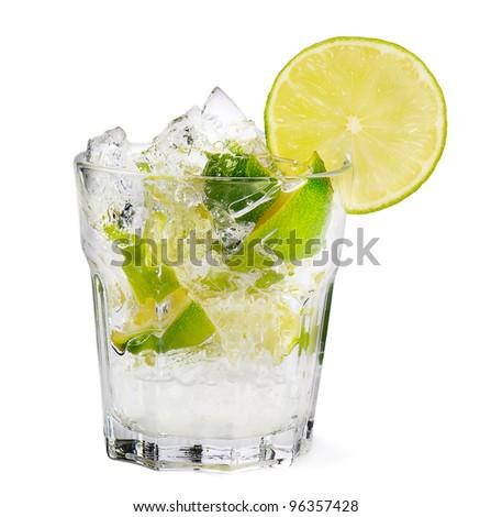 Fresh cocktail on white background - stock photo