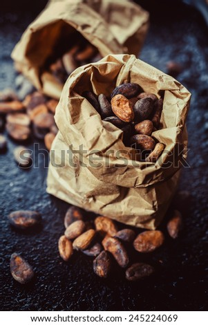 fresh cocoa beans in the package - stock photo