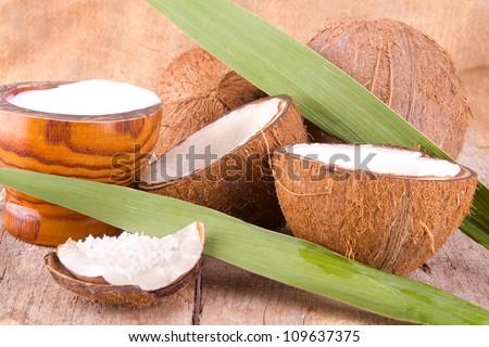 fresh coconut - stock photo