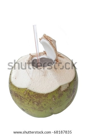 fresh coconut as white isolate background - stock photo