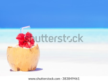 fresh coconut cocktail with red flower on tropical beach - stock photo