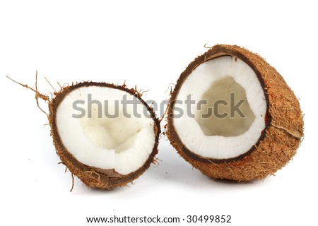 Fresh coconut on a white background. Close up.