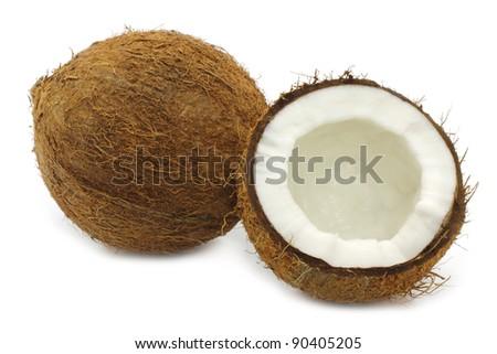 Fresh coconut on white background - stock photo
