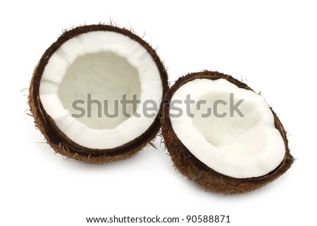 Fresh coconut on white background