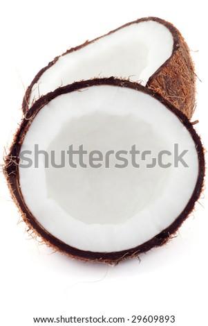 Fresh coconut on white isolated background . - stock photo