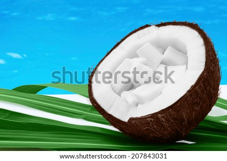 Fresh coconut - opened with coconut chips on green leaves with blue water - sea background - close up - stock photo