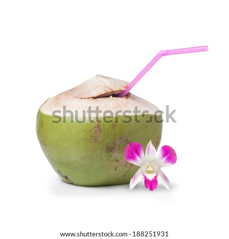 Fresh Coconut Water Drink on white background  - stock photo