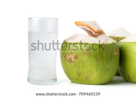 fresh coconut water in glass with coconut