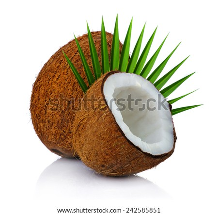 Fresh coconuts with leaf isolated on white background  - stock photo