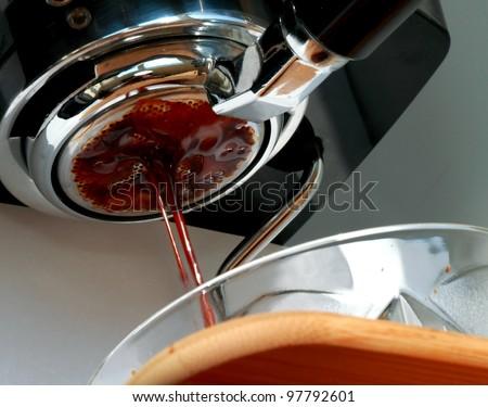 Fresh cofee drops falling - stock photo