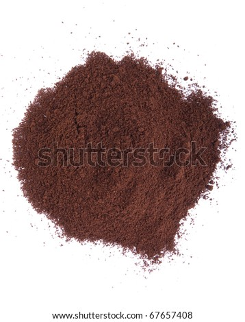 fresh coffee powder isolated on white background (chaotic version)