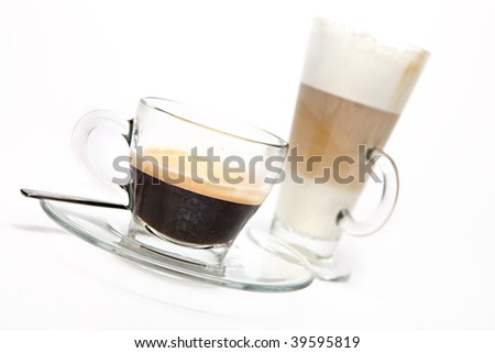 Fresh Coffee selection on a white background - stock photo