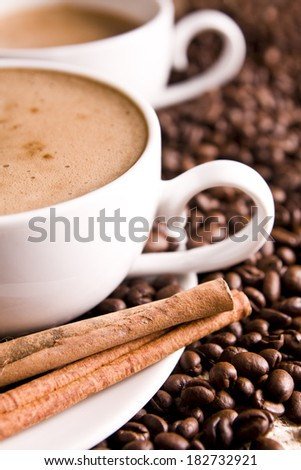 fresh coffee with cinnamon