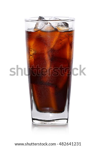 Fresh coke in glass isolated on a white