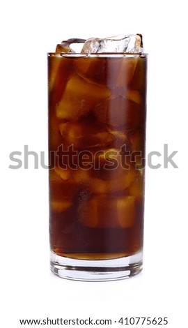 Fresh coke in glass isolated on a white background. - stock photo