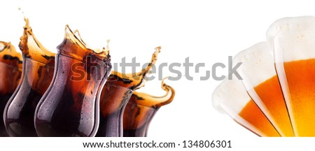 Fresh cola and beer background with splash isolated on a white - stock photo