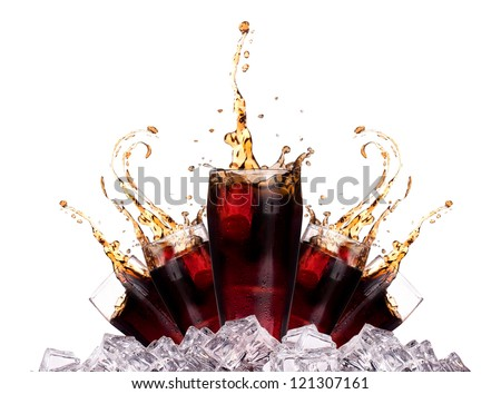 Fresh cola drink background with ice and splash isolated on a white - stock photo