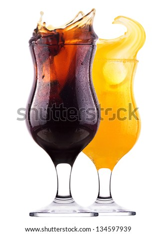 Fresh cola drink background with splash isolated on a white - stock photo