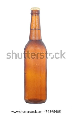 fresh cold brown beer bottle with waterdrops
