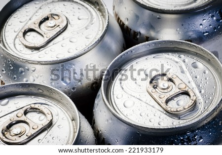 fresh cold cans of soft drink - stock photo