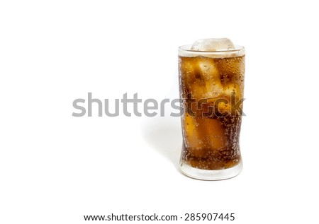 Fresh Cold Cola with ice in glass isolated on white background - stock photo