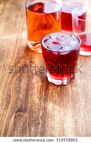 Fresh cold strawberry tea with ice - stock photo