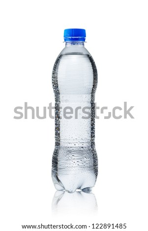 Fresh cold water bottle on white - stock photo