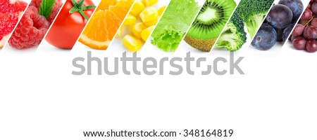 Fresh color fruits and vegetables. Healthy food - stock photo