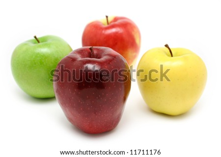 Fresh colorful apples on white