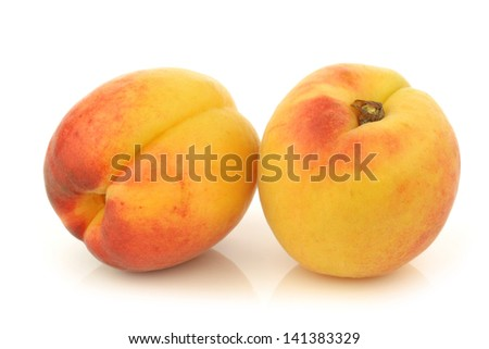 fresh colorful apricots on a white background