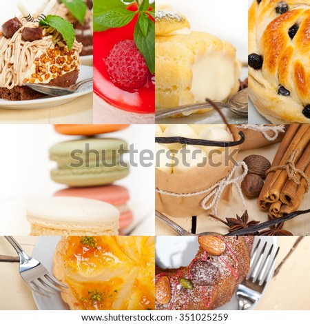 fresh colorful delicious homemade dessert cake selection composition collage  - stock photo