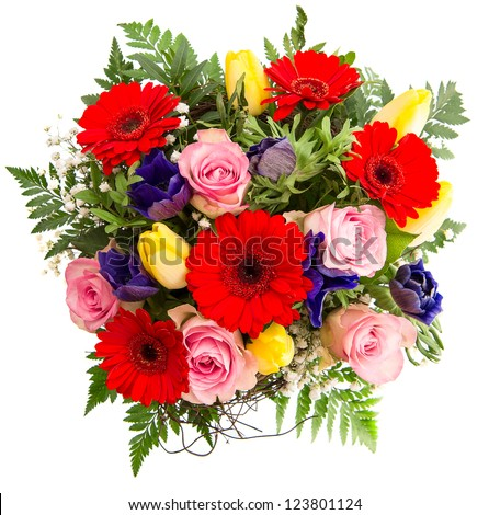 Fresh colorful spring flowers bouquet pink stock photo royalty free fresh colorful spring flowers bouquet pink roses red gerbera yellow tulips blue mightylinksfo