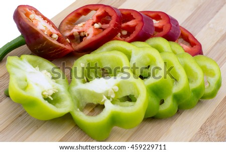 Fresh colorful sweet bell pepper isolated on a white background - stock photo