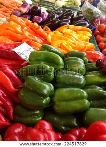 Fresh colorful vegetables at the market