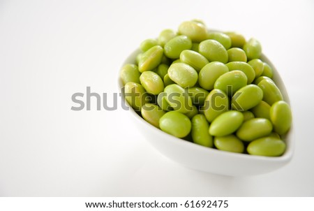 Fresh Cooked Edamame Soy Beans in White Bowl