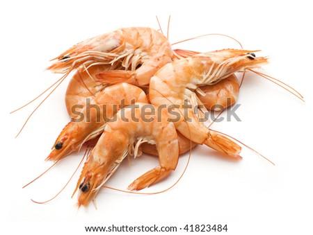 Fresh cooked king prawns isolated on white - stock photo