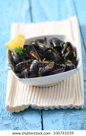 fresh cooked mussels on a plate