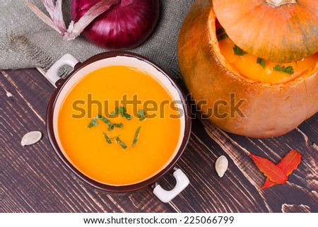 Fresh cooked pumpkin soup - stock photo
