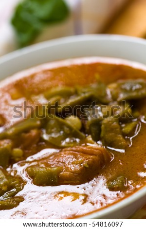 fresh cooked stew with green beans and roast ham,bacon