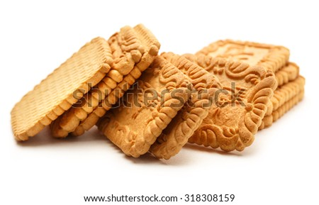Fresh cookies on the white background closeup - stock photo