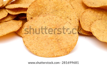 fresh corn chips on white background  - stock photo