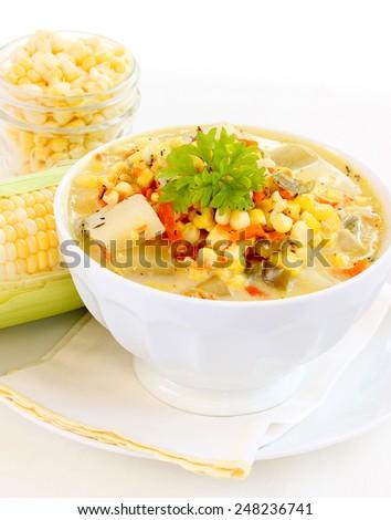 Fresh corn chowder - stock photo